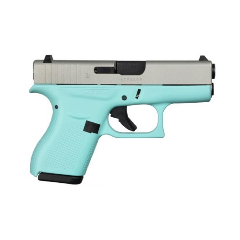 Glock G42 380 Acp Silver Aluminum Cerakote And Robin Egg Blue Subcompact Pistol Ui4250204resa Palmetto State Armory