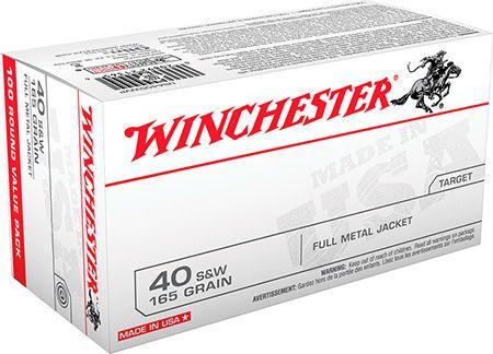 Winchester 40 S&W 165gr FMJ USA Ammunition 100rds - USA40SWVP