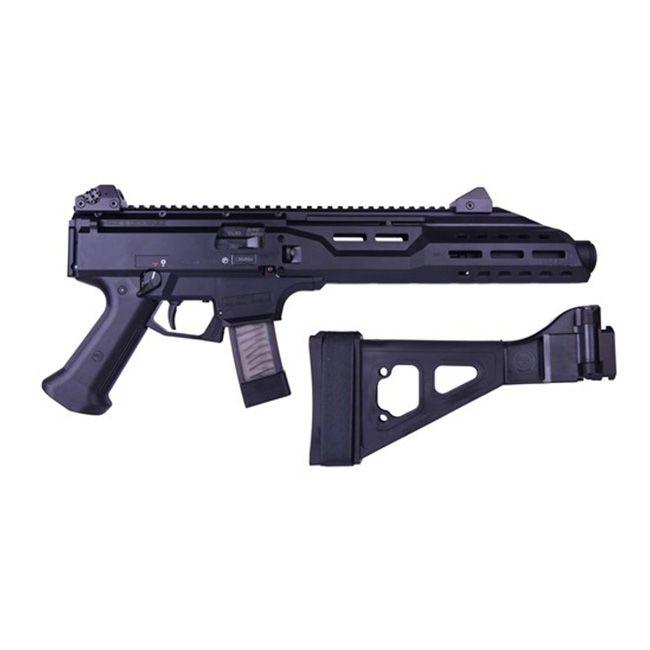 CZ Scorpion Evo 3 S1 9mm Pistol w/ Folding Brace & Flash Can, Black