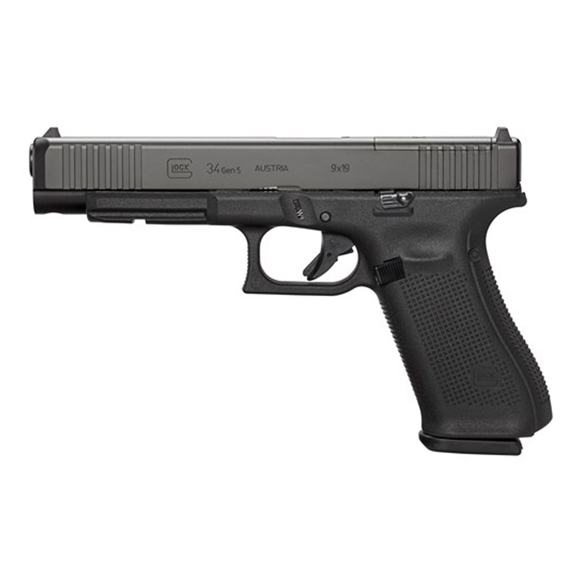 Glock 34 MOS Gen 5 9mm Pistol with Front Serrations, Black - PA343S103M