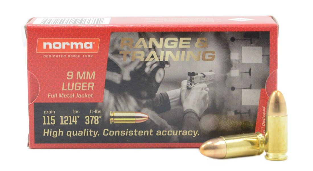 Norma Range And Training 115 gr FMJ 9mm Ammunition 50 Rounds