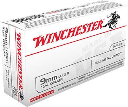 Winchester USA 9mm 124gr FMJ Ammunition 50rds - USA9MM