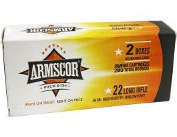 Armscor 36 gr High Velocity Hollow Point .22lr Rimfire Ammo, 200/box - 50321