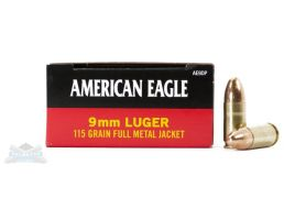 American Eagle 9mm Ammunition 115gr FMJ 50rds - AE9DP