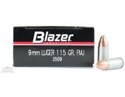 CCI Blazer 9mm 115gr FMJ Aluminum Case Ammunition, 50 Round Box - 3509