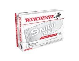 Winchester USA 9mm 115gr FMJ Ammunition, 200 Round Box - USA9W