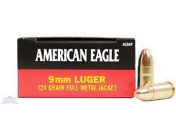 American Eagle 9mm 124gr FMJ Ammunition 50rds - AE9AP