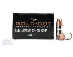 Speer 9mm+P 124gr Gold Dot Ammunition 20rds - 23617