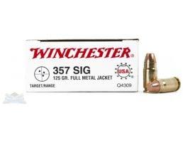 Winchester USA 357 Sig 125gr FMJ Ammunition 50rds - Q4309