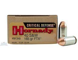 Hornady 40 S&W 165gr FTX Critical Defense Ammunition 20rds -91340
