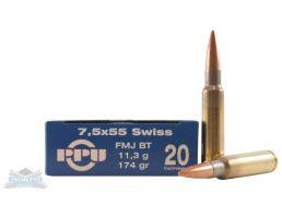 PRVI Partizan 7.5x55mm Swiss 174gr FMJ Ammunition 20rds - PP7.21