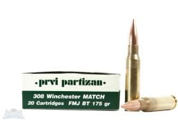 PRVI Partizan 308 175gr Match FMJ Ammunition 20rds - PP3.2