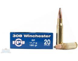 PRVI Partizan 308 Winchester 180gr SP Ammunition 20rds - PP3.27