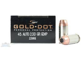 Speer 45 Auto/ACP 230gr Gold Dot Ammunition 20rds - 23966