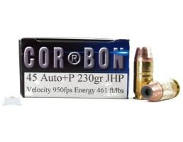 Cor-Bon 45 Auto/ACP+P 230gr JHP Ammunition 20rds - SD45230/20