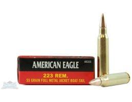 Remington .223 Ammo American Eagle .223 REM 55GR Ammunition 20 Rounds