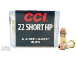CCI .22 Short 27gr Copper Plated HP High Velocity Ammunition 100rds -0028