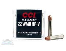 CCI .22 WMR Maxi Mag+V 30gr JHP Ammunition 50rds - 0059