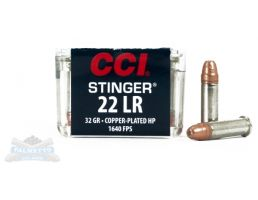 CCI .22 Long Rifle 32gr Copper Plated HP Stinger Ammunition 50rds - 0050
