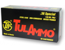Tula 130 gr FMJ Steel Cased .38 Special Ammunition 50 Rounds