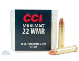 CCI .22 Winchester Magnum Rimfire 40 Grain Total Metal Jacket Ammunition 50rds - 0023