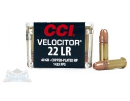CCI .22 Long Rifle 40gr Velocitor Copper Plated HP Ammunition 50rds - 0047