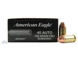 American Eagle 45 Auto/ACP 230gr FMJ Sub-Sonic Ammunition 50rds - AE45SUP1