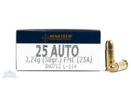 Magtech 25 Auto/ACP 50gr FMJ Ammunition 50rds - 25A