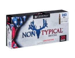 Federal 243 Win 100gr Soft Point Non-Typical Whitetail Rifle Ammunition, 20 Rounds - 243DT100
