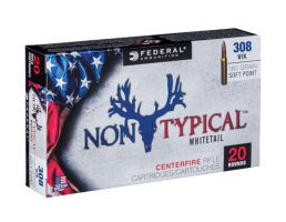 Federal 308 Win 180gr Soft Point Non-Typical Whitetail Rifle Ammunition, 20 Rounds - 308DT180