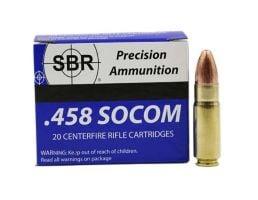 SBR .458 Socom 500 gr FMJ Subsonic 20 Rounds Ammunition - SL45856