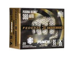 Federal Punch 85 gr JHP .380 Auto Ammo, 20/pack - PD380P1