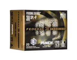 Federal Punch 120 gr JHP .38 Spl +P Ammo, 20/pack - PD38P1