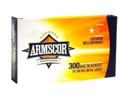 Armscor 147gr FMJ 300 AAC Blackout Ammo, 100/Box - 50446