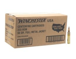 Winchester 55gr FMJ 223 Ammo, 1000 rds - W2231000