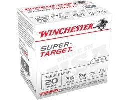 "Winchester Super Target 20 Gauge 2-3/4"" 7-1/2 Shot 7/8 oz Shotshell, 100/Box - TRGT207VP"