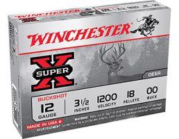 """Winchester 12ga 3.5"""" 18 Pellet 00 Buck Shotshell Ammunition 5rds - XB12L00"""