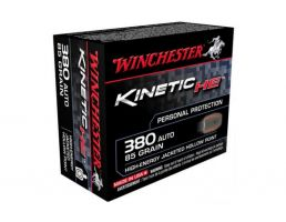 Winchester 380 Auto/ACP 85gr JHP High Kinetic Energy Ammunition, 20 Round Box - HE380JHP