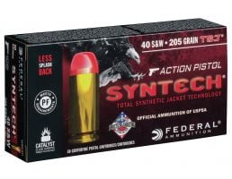 Federal American Eagle Syntech Action Pistol 205 gr Syntech Jacket Flat Nose .40 S&W Ammo, 50/box - AE40SJAP1
