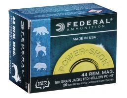 Federal Power-Shok 180 gr Jacketed Hollow Point .44 Rem Mag Ammo, 20/box - C44B