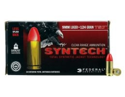 Federal American Eagle Syntech Range 124 gr Syntech Jacket Round Nose 9mm Ammo, 50/box - AE9SJ2