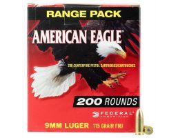 Federal American Eagle 115 gr Full Metal Jacket 9mm Ammo, 200/box - AE9DP200