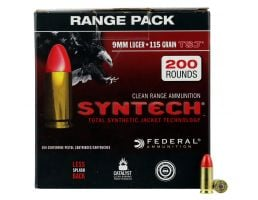 Federal American Eagle Syntech Range 115 gr Total Syntech Jacket Round Nose 9mm Ammo, 200/box - AE9SJ1200