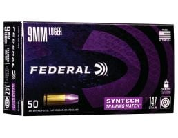 Federal American Eagle Syntech Training Match 147 gr Syntech Jacket Flat Nose 9mm Ammo, 50/box - AE9SJ3