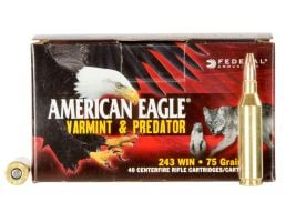 Federal American Eagle Varmint and Predator 75 gr Jacketed Hollow Point .243 Win Ammo, 40/box - AE24375VP