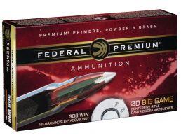 Federal Premium 165 gr Nosler AccuBond .308 Win Ammo, 20/box - P308A1