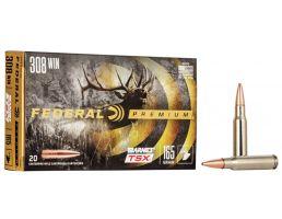 Federal Premium Barnes TSX 165 gr Triple-Shock X .308 Win Ammo, 20/box - P308H