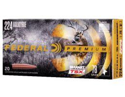Federal Premium Barnes TSX 78 gr Triple-Shock X .224 Valkyrie Ammo, 20/box - P224VLKBTSX1