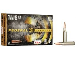 Federal Premium Barnes TSX 140 gr Triple-Shock X 7mm-08 Rem Ammo, 20/box - P708C