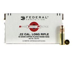 Federal Premium Range and Target 40 gr Copper-Plated Round Nose .22lr Ammo, 50/box - RTP2240
